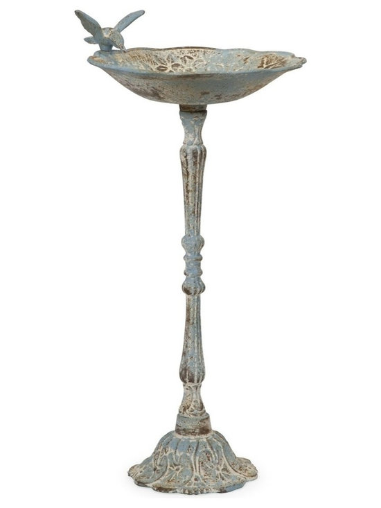 iMax - iMax Santon Blue Birdbath, Small - This small bird feeder features a rustic, aged finish in pale blue. Place in the garden with some bird food to provide a delightful treat!