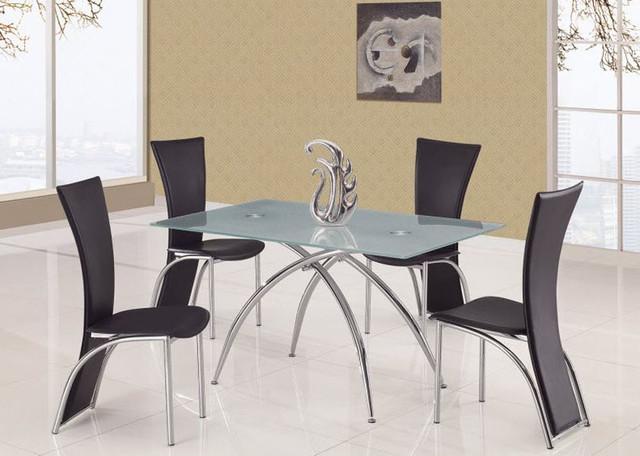 Elite Rectangular Glass Top 5 Pc Dinner Set Contemporary Dining Tables