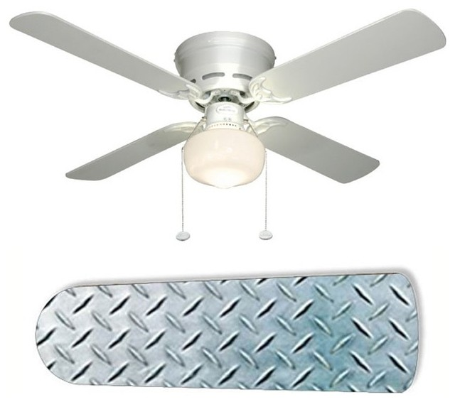 "Diamond Plate Garage Shop Den 42"" Ceiling Fan And Lamp"
