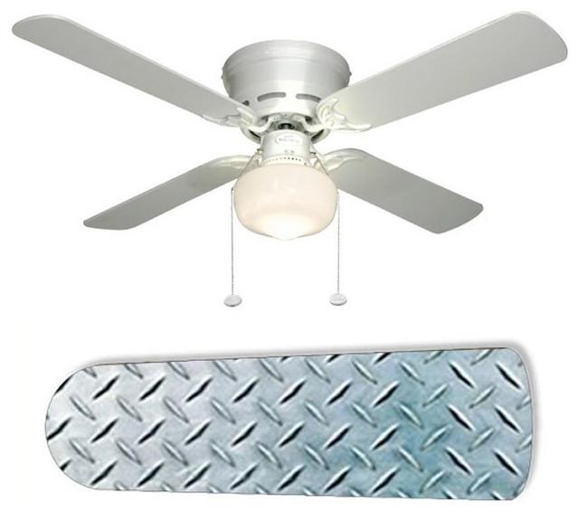 Garage Ceiling Fans : Diamond plate garage shop den quot ceiling fan and lamp