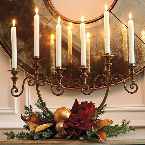 Queen's Collection Candlestick Centerpiece With Two Swags