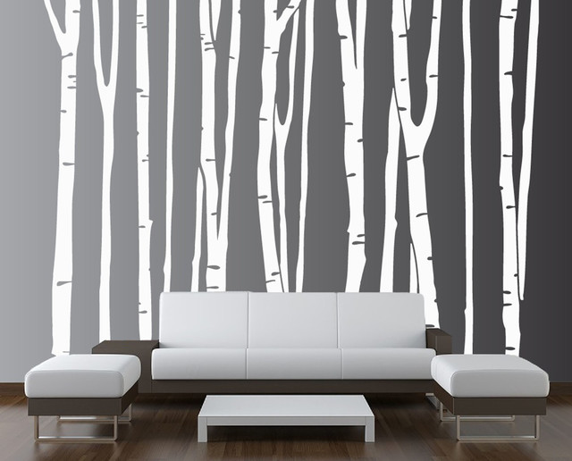 large wall birch tree decal forest kids vinyl sticker With kitchen cabinets lowes with vinyl birch tree wall art
