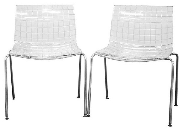 Transparent Clear Acrylic Accent Chair Set Of 2 Contemporary Dining Chairs