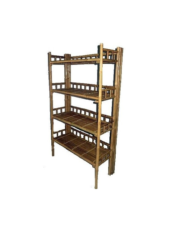 "Master Garden Products - Folding Bamboo Shelf, Handcrafted Wih Solid Bamboo, 60""W x 16""D x 65""H - Our bamboo shelf and racks can be used in residential or commercial premises. Use them in your bathroom as a towel rack, in the living room as a book shelf, or for your business as a retail display rack."