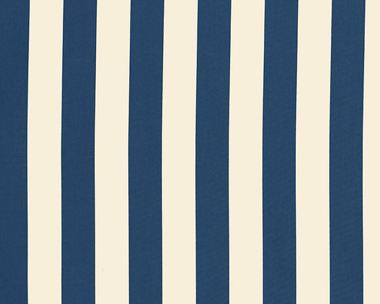 "Ballard Designs - Canopy Stripe Navy & Sand Sunbrella Fabric by the Yard - Content: 100% Sunbrella® Acrylic. Repeat: Non-railroaded fabric, 5.19"" Repeat. Care: Spot clean with mild soap. Width: 54"" wide. Big bold navy & white stripes woven in washable, easy-care, Sunbrella acrylic.Content: 100% Sunbrella Acrylic. . . . Because fabrics are available in whole-yard increments only, please round your yardage up to the next whole number if your project calls for fractions of a yard. To order fabric for Ballard Customer's-Own-Material (COM) items, please refer to the order instructions provided for each product.Ballard offers free fabric swatches: $5.95 Shipping and Processing, ten swatch maximum. Sorry, cut fabric is non-returnable."