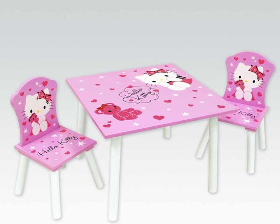 Kids Furniture - With Hello Kitty and her teddy bear, surrounded by hearts and stars, what child could help being inspired at playtime? An adorable table with two chairs makes the perfect play area—simple and spacious, enjoy tea parties and coloring sessions. Extra chairs are available for purchase.