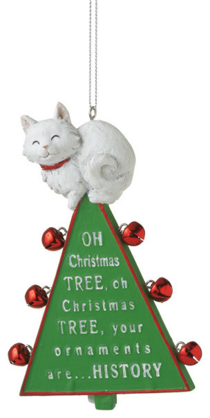 Oh Christmas Tree Ornament - Xmas Cat & Bells Funny Holiday Gift Decoration traditional-christmas-ornaments