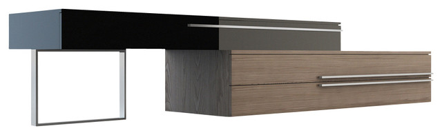 Gramercy TV Stand, Walnut / Black Lacquer modern-media-storage