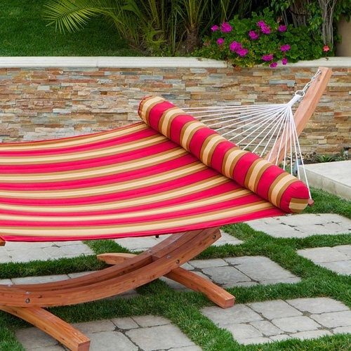 RST Outdoor Cantina Wood Arc Hammock Stand with Olefin Striped Hammock contemporary-hammocks-and-swing-chairs