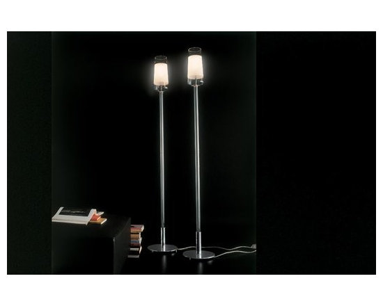 Luume Floor Lamp by Penta Light - Luume Floor Lamp by Penta Light. Lamps with chromed metal structure. Shade in transparent borosilicate glass with central sandblasted band to hide the bulb. Luume Floor Lamp by Penta Light are designed by Umberto Asnago.