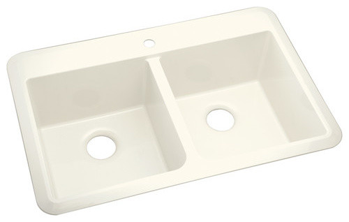 Vikrell Slope 1-Hole Undermount/Self Rimming Double Bowl Kitchen Sink modern-bath-products
