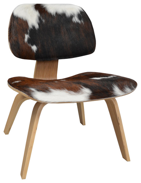 Eames Style Molded Plywood Lounge Chair Cowhide Midcentury