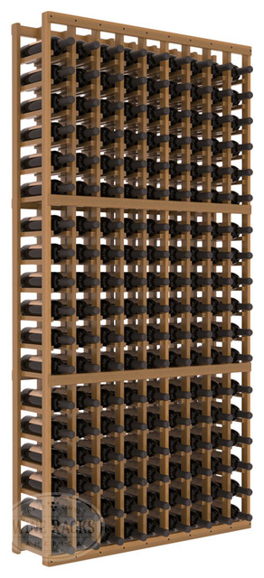 9 Column Standard Cellar Kit in Redwood with Oak Stain + Satin Finish traditional-wine-racks