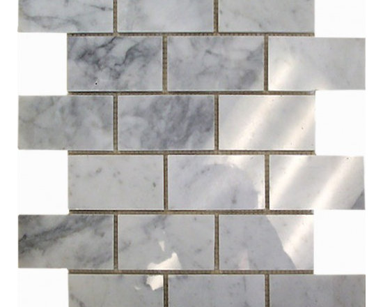 Carrara polished 2x4 Brick pattern stone mosaic - Carrara polished 2x4 stone brick pattern mosaic.