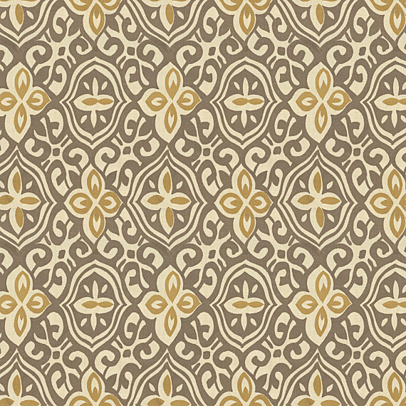 Tan & Gold Moroccan Mosaic Cotton Fabric eclectic-upholstery-fabric
