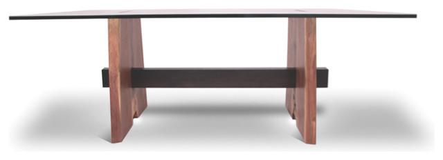 Reclaimed Walnut And Glass Top Desk Contemporary Desks