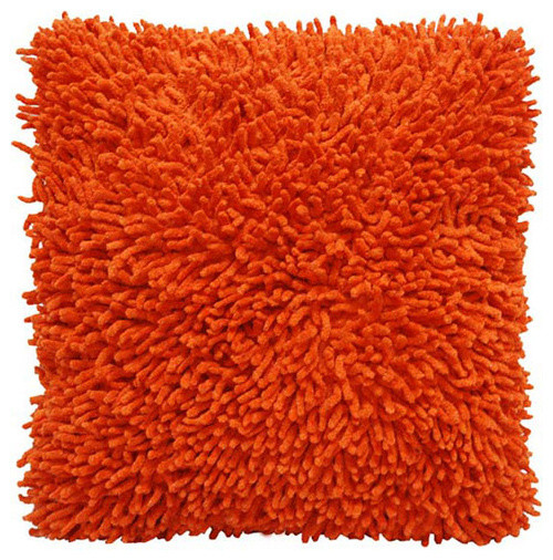 Shagadelic Orange 18-Inch Chenille Twist Double Sided Pillow traditional-bed-pillows