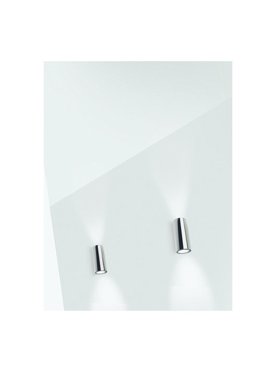 """Zaneen Lighting - Kronn 7.75"""" Wall Sconce - Features: -Two light wall sconce. -Kronn collection. -Chrome or white finish available. Specifications: -Accommodates 2x75W Halogen GZ10 MR20 base bulb (not included). -Designed and Manufactured in Spain. -cCSAus safety approval certificate. -Overall dimensions : 7.75"""" H x 2.75"""" W x 3.5"""" D."""