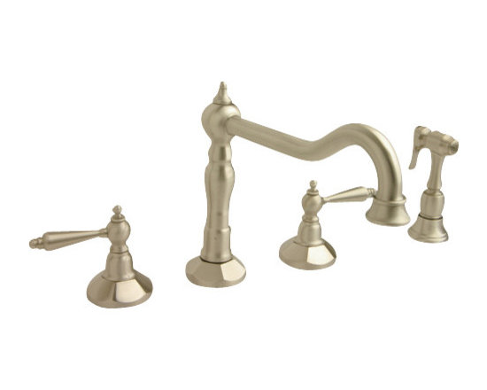 Giagni Jorenzo J1 Widespread Kitchen Faucet with Side Spray - Classic design meets modern functionality to make the Jorenzo series for a perfect fit in any kitchen decorated with a traditional flair.  Choose from a variety of finises to compliment any decor.