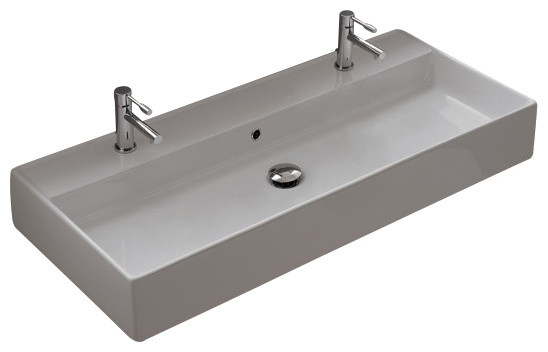 White Rectangular Vessel Sink : Rectangular White Ceramic Wall Mounted or Vessel Sink, Three Hole ...
