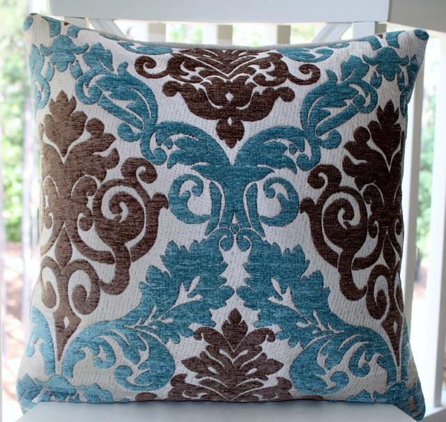 Aqua Brown Decorative Pillows : Damask Paisley Peacock Blue/Aqua Brown Silver Backing Pillow Cover - Decorative Pillows ...
