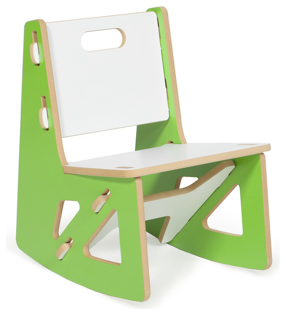 Kids Rocking Chair, Green/White contemporary-kids-chairs
