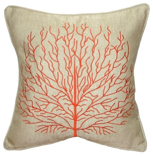 pillow decor fire coral 17 x 17 throw pillow orange