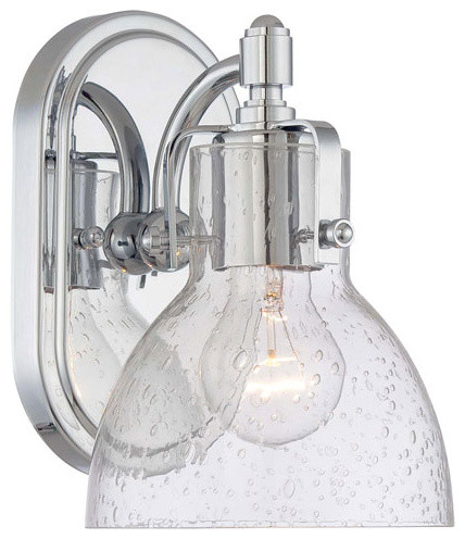 Chrome One Light Bath Fixture With Clear Seeded Glass Modern Bathroom Vanity Lighting