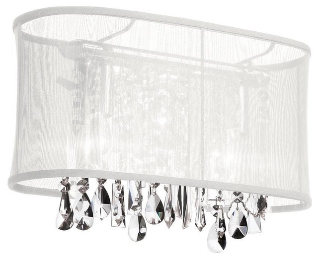 Vanity Light Bulb Shades : 2 Light Crystal Vanity w/Wh Oval Shade - Modern - Lamp Shades - by Elite Fixtures
