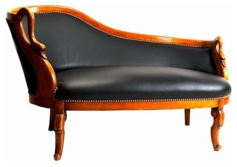 French Swan Chaise traditional-loveseats