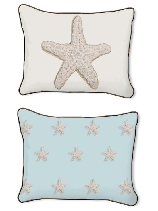 Casart Coverings - Starfish Pillow Slipcover, Starfish/Brown, Rectangular - 14 in X 18 in - Reversible, all-weather, washable pillow slipcover