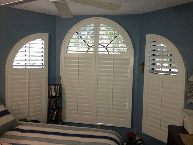 Curved Window Coverings Beach Style Bedroom By