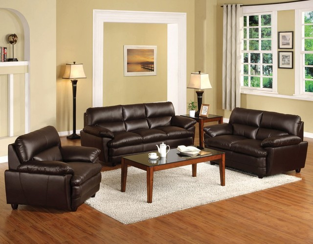 Import Direct 3 PCs Winston I Dark Brown Bonded Leather Sofa Set Modern