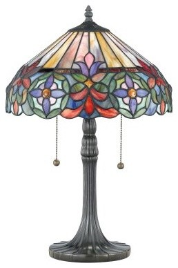 Quoizel Tiffany TF6826VB Table Lamp - 14W in. - Vintage Bronze modern-table-lamps