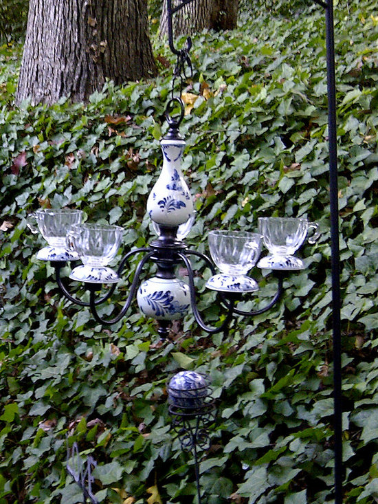 Original Outdoor Lighting Collection - Jandeliers, a newly created Original Lighting Collection, includes this 1980's Delft style chandelier that is customized and repurposed for outdoor entertaining. The baluster stem and bulb base is hand painted white ceramic and the solid brass shaped mid-sections and branches have been refinished in oil-rubbed bronze for outdoor durability.