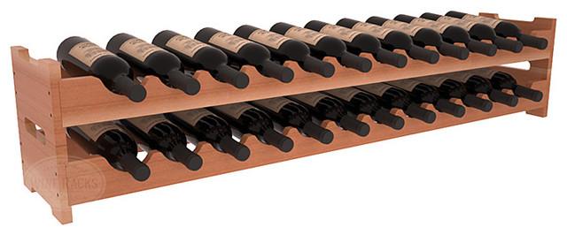 24 Bottle Scalloped Wine Rack in Redwood, Satin Finish contemporary-wine-racks