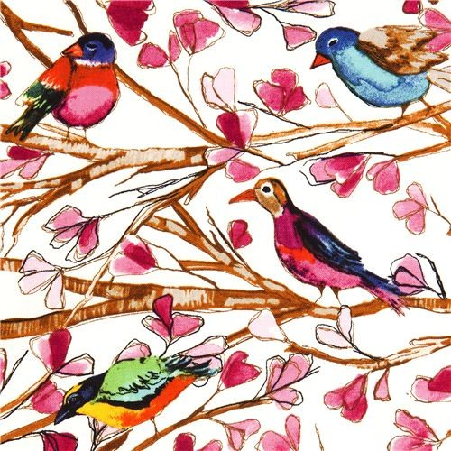 Michael Miller fabric Wing Song bird flower branch  fabric