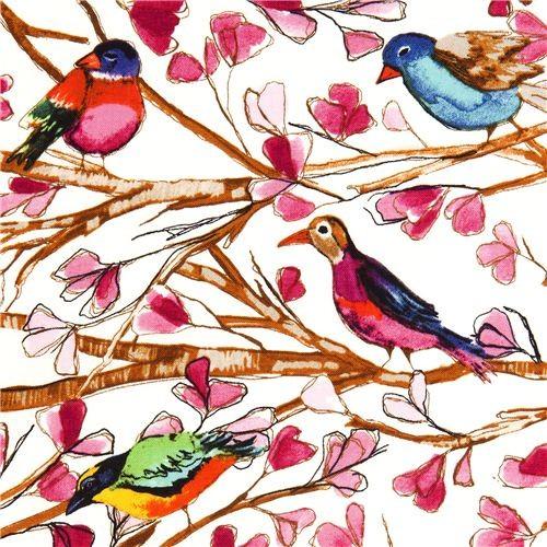 Michael Miller fabric Wing Song bird flower branch fabric