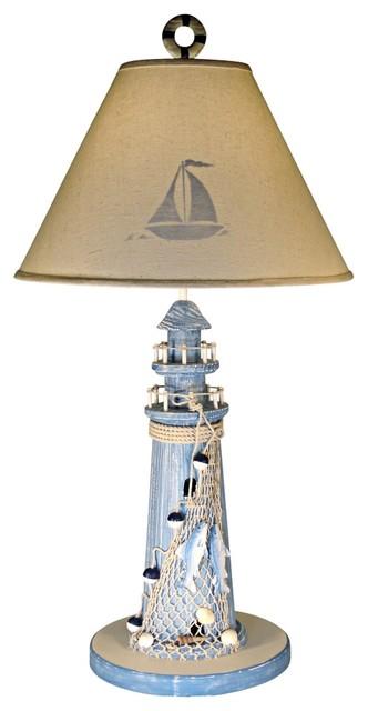 Coastal Blue Lighthouse Stenciled Shade Nautical Table