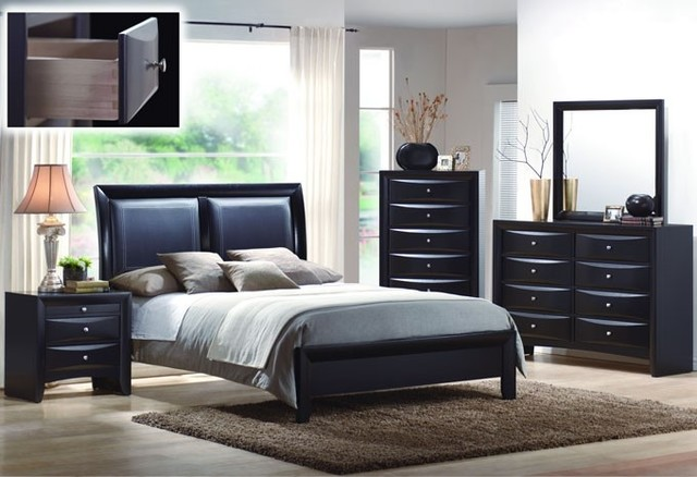 Black wood leatherette queen panel bedroom set modern - Black queen bedroom furniture set ...