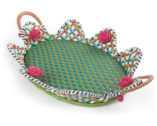 Greenhouse Outdoor Serving Tray | MacKenzie-Childs - The workhorse of our Greenhouse Collection and a playful presenter on its own. Intricately woven of resin wicker.