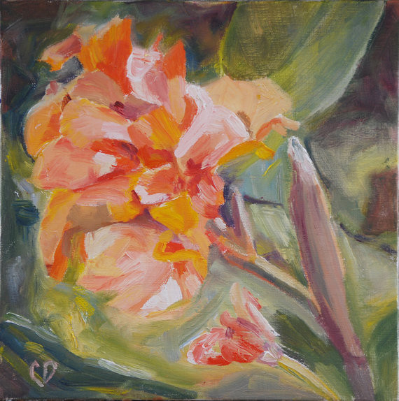 Canna Flower Impressionistic Painting Original Oil By Carol DeMumbrum traditional-artwork