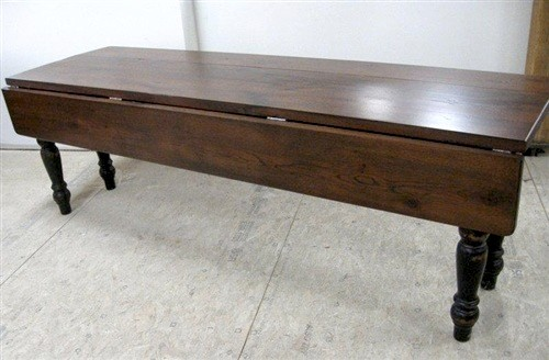 rustic old oak drop leaf farm table with black legs farmhouse dining tables boston by. Black Bedroom Furniture Sets. Home Design Ideas
