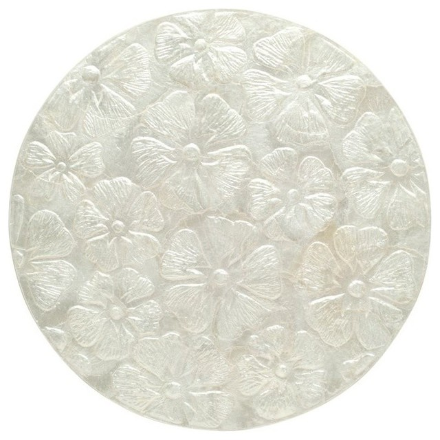 Round Capiz Seashell Placemat Set of 2, Off-White beach-style-placemats