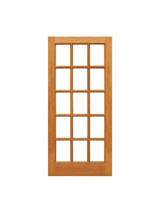 "15-lite Patio Brazilian Mahogany Wood IG Glass Single Door - SKU#    15-lite-Ext-1Brand    AAWDoor Type    FrenchManufacturer Collection    Mahogany French DoorsDoor Model    Door Material    WoodWoodgrain    MahoganyVeneer    Price    400Door Size Options    30"" x 80"" (2'-6"" x 6'-8"")  $032"" x 80"" (2'-8"" x 6'-8"")  $036"" x 80"" (3'-0"" x 6'-8"")  $0Core Type    SolidDoor Style    Door Lite Style    Full Lite , 15 LiteDoor Panel Style    Ovolo StickingHome Style Matching    Craftsman , Colonial , Cape Cod , VictorianDoor Construction    Engineered Stiles and RailsPrehanging Options    Prehung , SlabPrehung Configuration    Single DoorDoor Thickness (Inches)    1.75Glass Thickness (Inches)    1/2Glass Type    Double GlazedGlass Caming    Glass Features    Insulated , Tempered , low-E , Beveled , DualGlass Style    Clear , White LaminatedGlass Texture    Clear , White LaminatedGlass Obscurity    No Obscurity , High ObscurityDoor Features    Door Approvals    FSCDoor Finishes    Door Accessories    Weight (lbs)    340Crating Size    25"" (w)x 108"" (l)x 52"" (h)Lead Time    Slab Doors: 7 daysPrehung:14 daysPrefinished, PreHung:21 daysWarranty    1 Year Limited Manufacturer WarrantyHere you can download warranty PDF document."