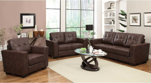 Coaster modern brown leather sofa couch loveseat arm chair living room