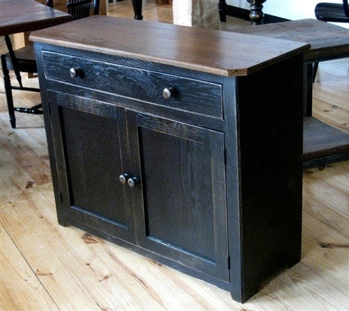 Black Wood Buffet Cabinet ~ Solid reclaimed oak black cabinet farmhouse buffets