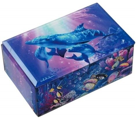 Majestic Family of Dolphins Embracing Under Water Music Box - Tropical ...