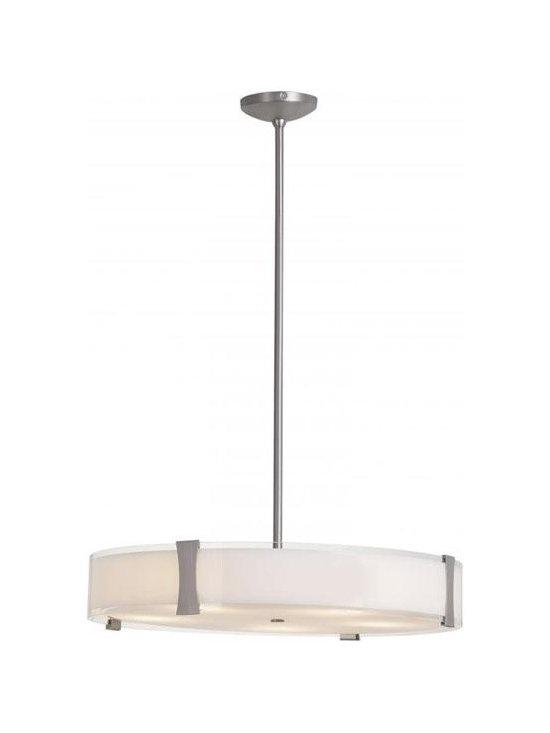 Access Lighting 50124-BS/OPL Five Light Steel Drum Shade Pendant -