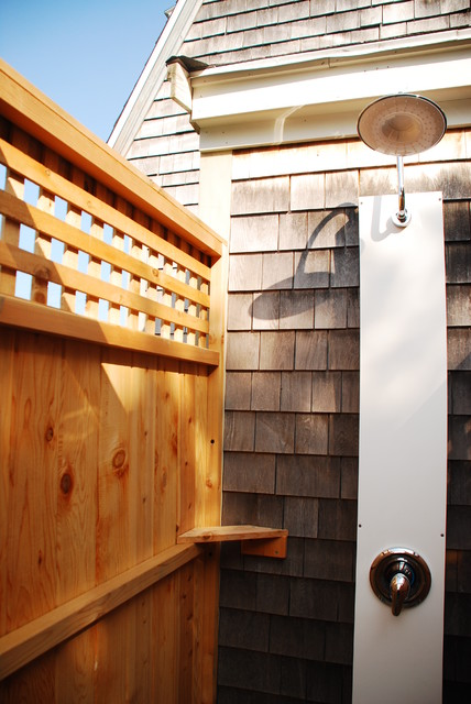 Outdoor Shower With Lattice Beach Style Manchester NH By Cape Cod Showe